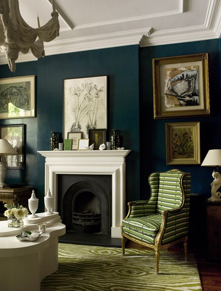 lovely dark green living room wall | Walls Painted Blue And Green - Home Decorating Ideas