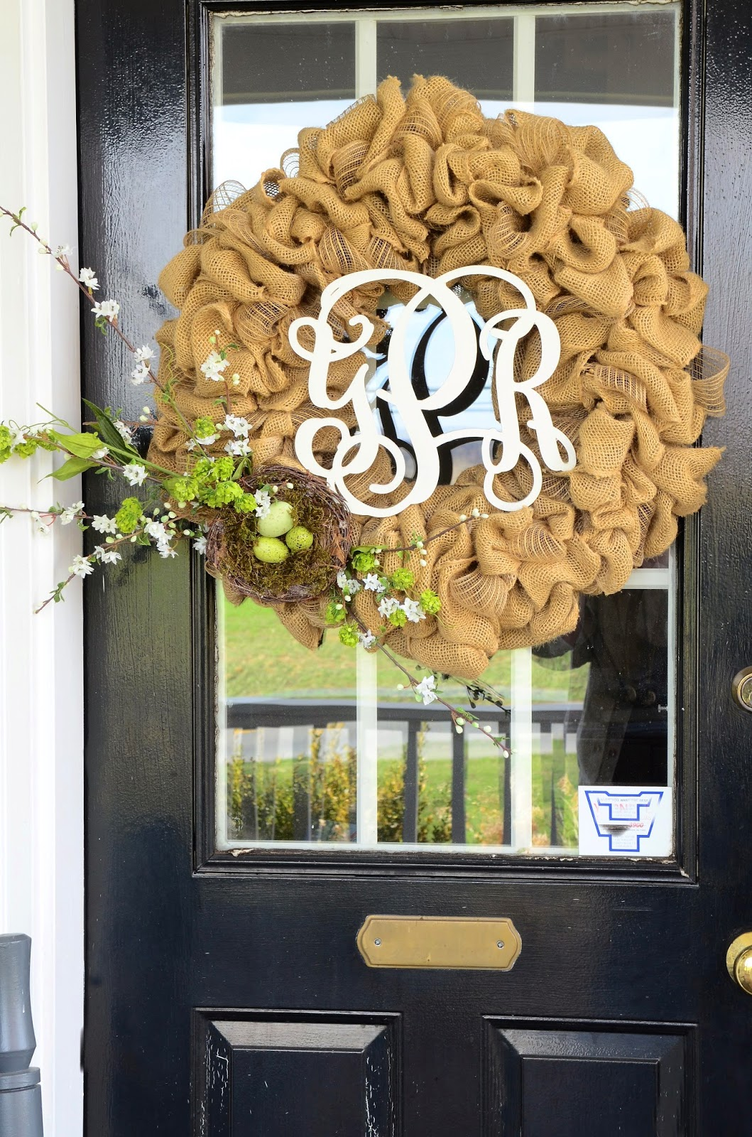 Spring burlap wreath diy stonegable for How to make door wreaths for spring