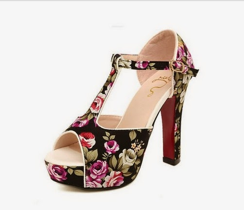 floral high heel shoes