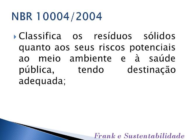 ITEM SOBRE A NBR 10004/04 - RESÍDUOS SÓLIDOS