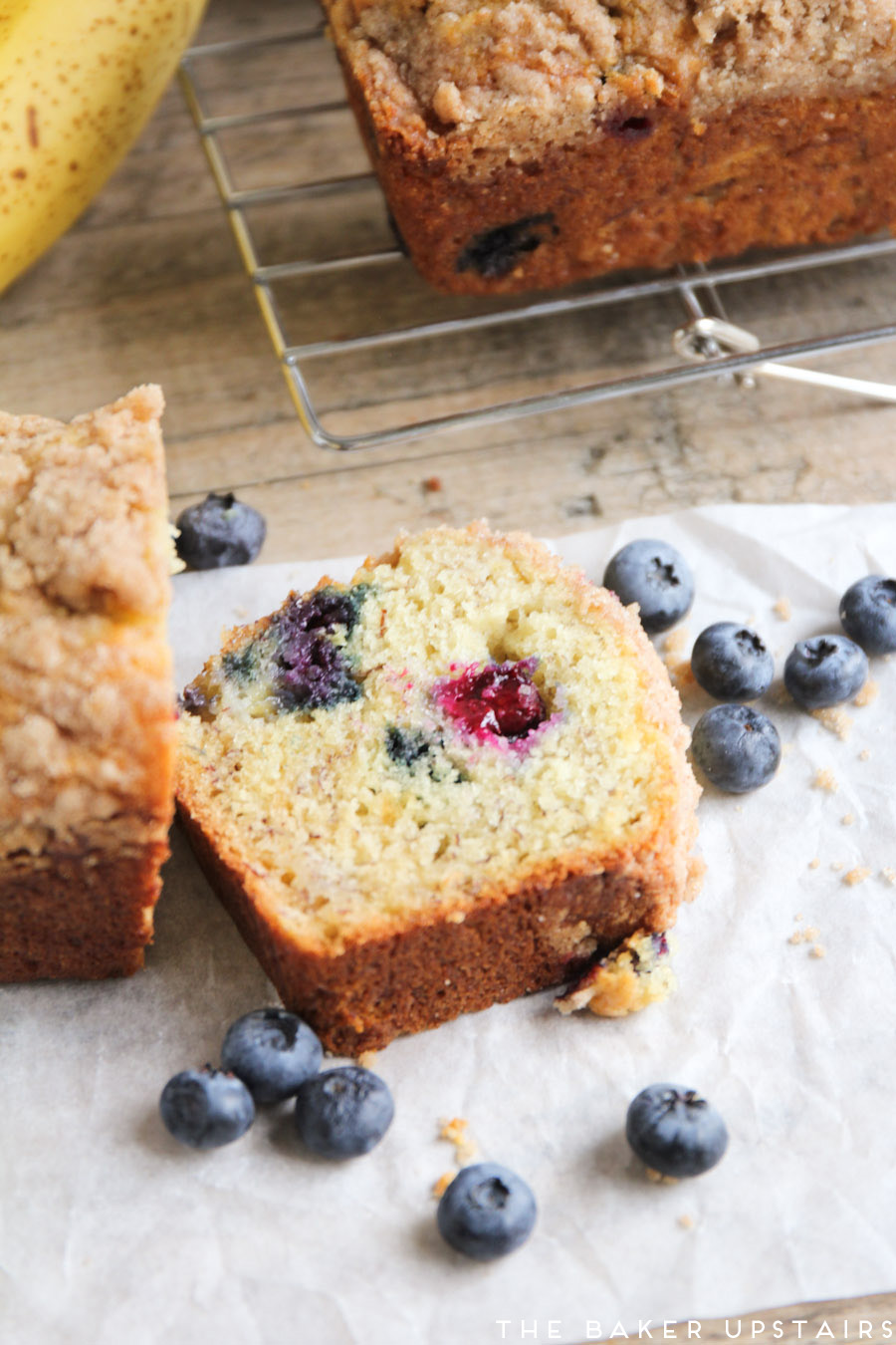 This blueberry banana bread is loaded with juicy blueberries and topped with a buttery cinnamon streusel. It is so good!