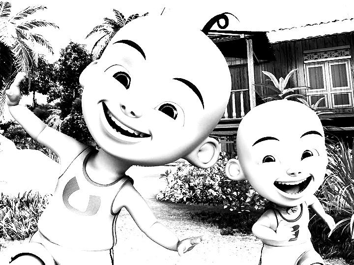 Gambar Kartun Upin Ipin Sketch Coloring Page
