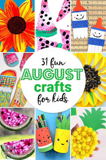 31 FUN August Crafts for Kids - so many fun, creative crafts for toddler, preschool, kindergarten, 1st grade, 2nd grade, and families. Includes flowers, watermelon, back to school, fruit, beach, and so much more. Perfect kids activities to add to your summer bucket list #craftsforkids #kindergarten #summerbucketlist