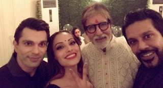 Bipasha came with Karan Singh Grover at Bachchan's Diwali Party. Rocky S and host Big B appeared.