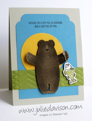 Stampin' Up! Bear Hugs Fisherman Bear Card for Father's Day, retirement, masculine birthday #stampinup 2016 Occasions Catalog www.juliedavison.com