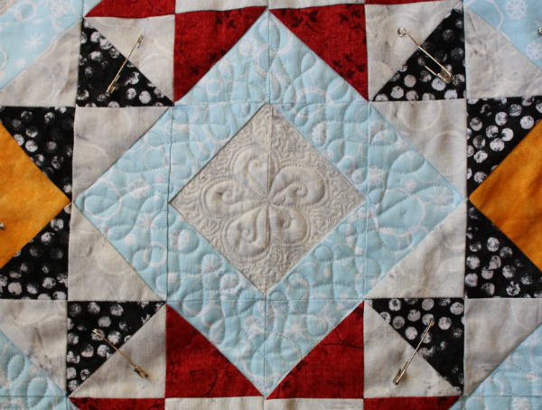 Free motion quilting on Just the Basics Mystery Quilt | DevotedQuilter.blogspot.com