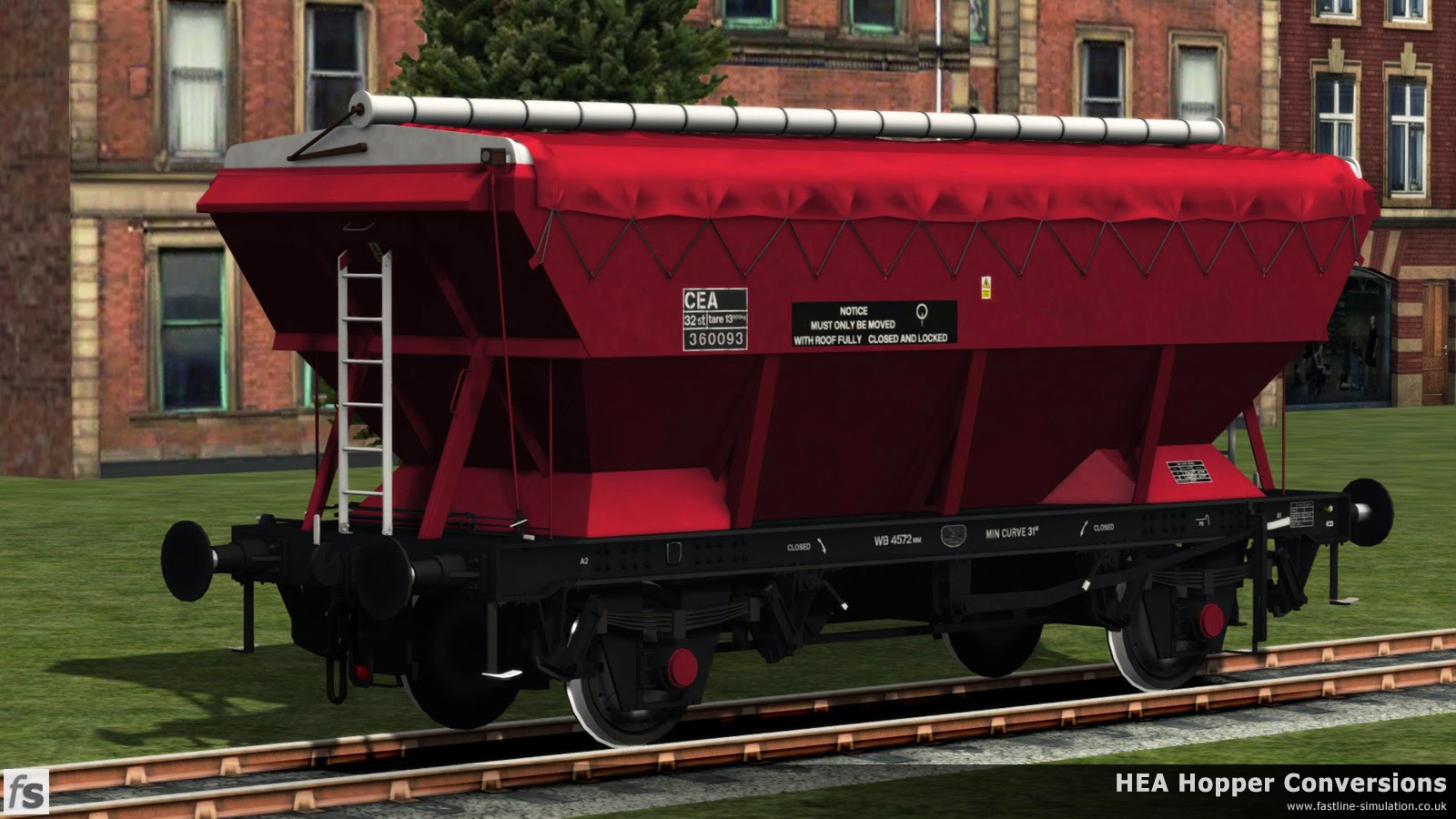 Fastline Simulation - HEA Conversions: This version of red livery on the CEA hopper feels like a bit of a spruce up hybrid of the original Loadhaul livery.