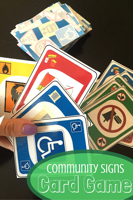 Teach community sign using this fun UNO card game. Great for teaching life skills and special education