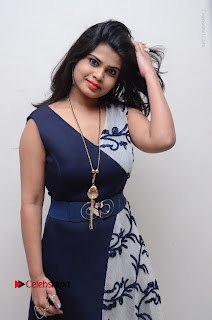 Telugu Actress Alekhya Stills in Blue Long Dress at Plus One ( 1) Audio Launch  0005.jpg