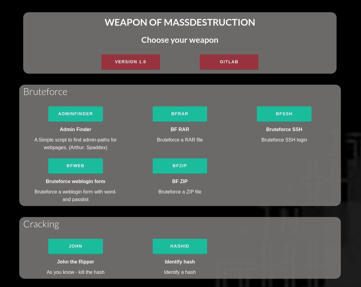 WMD (Weapon of Mass Destruction) - Python framework for IT