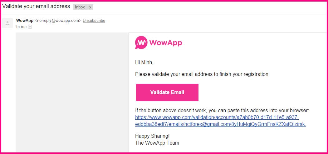 Xác thực tài khoản WowApp bằng địa chỉ Email