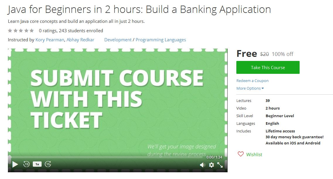 Udemy Free Course   Udemy Free Coupons: Udemy Free Course - Java for