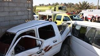 إصابة 19 شخصا في تصادم سيارتين بالمنيا