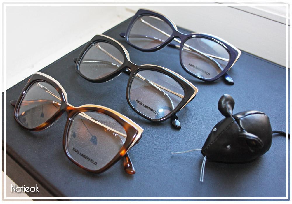 lunettes de vue rétro superposition des matières de Karl Lagerfeld pour Optic2000