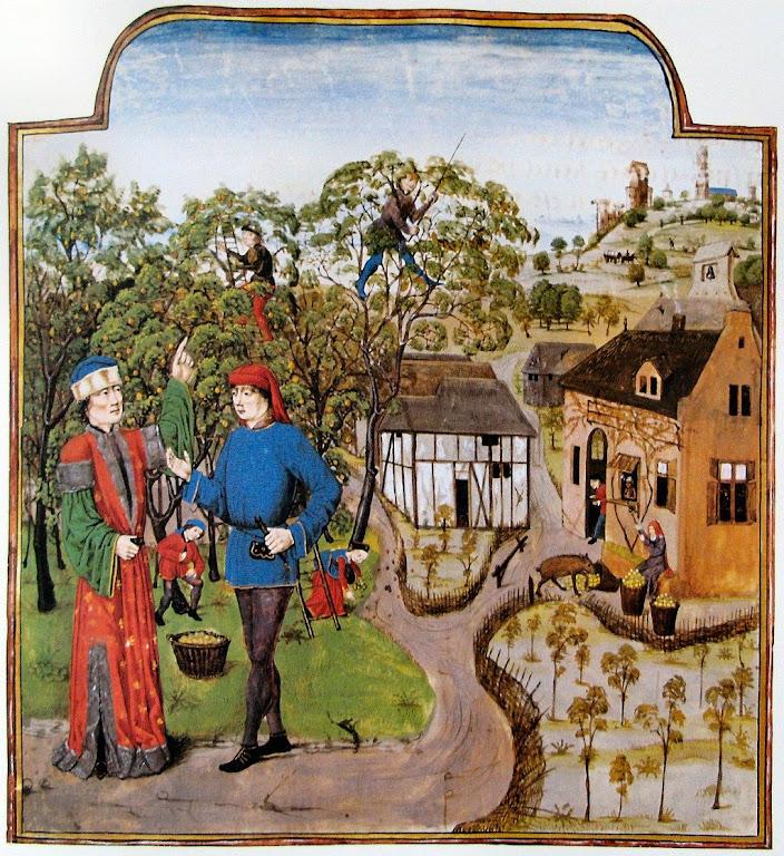 Nobre dirige os trabalhos da agricultura no feudo. Todos os detalhes exibem abundância e boa organização da produção, além de camponeses bem vestidos e educados.