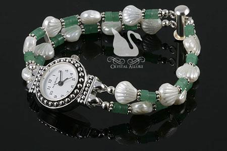 Patricia's Custom Clam Shell Gemstone Beaded Watch (W015)