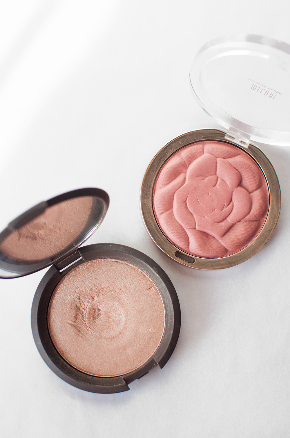 becca shimmering skin perfector pressed opal, milani rose blush, milani romantic rose blush