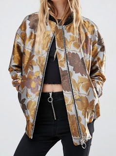 ASOS bomber jacket in brown and yellow floral jacquard