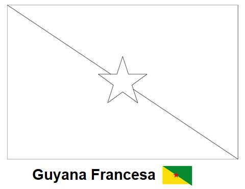 La cartografía: Bandera de Guyana Francesa Dibujo para colorear