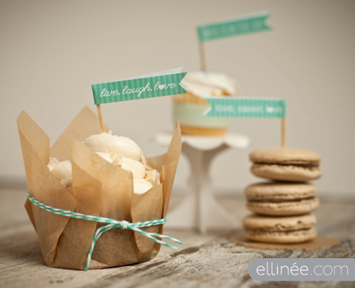 Printable Cupcake Flags from Elinee
