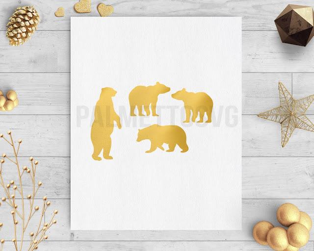 gold foil bear clip art svg dxf silhouette cricut downloads