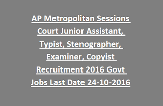AP Metropolitan Sessions Court Junior Assistant, Typist, Stenographer, Examiner, Copyist Recruitment 2016 Govt Jobs Online Last Date 24-10-2016