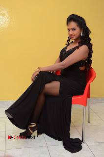 Actress Nakshatra Pictures in Black Long Dress at Miss South India 2016 Press Meet 0151