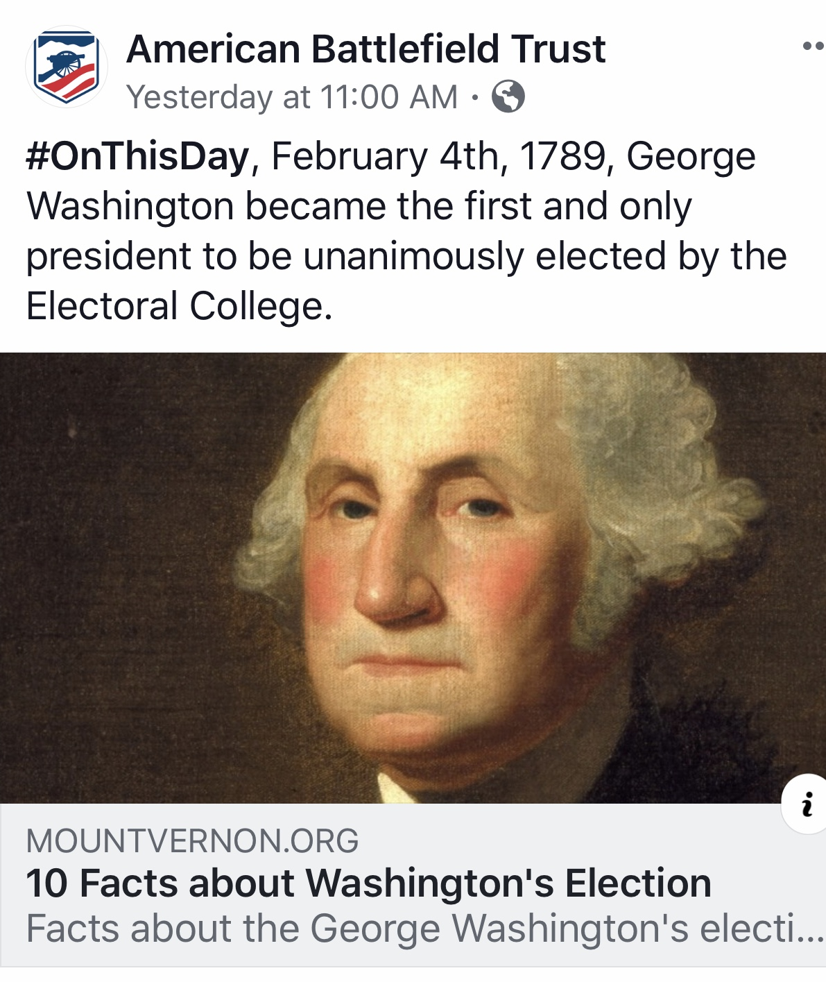 10 Facts About George Washingtons Election