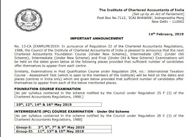 CA Final IPCC and Foundation Examination Dates rolled Out