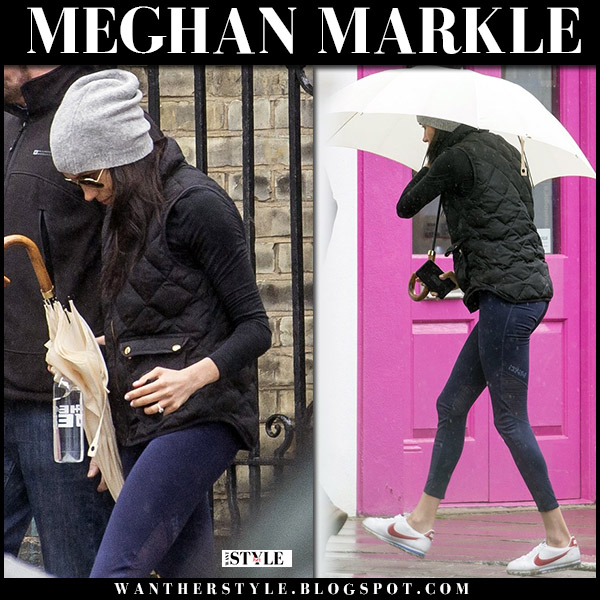 Meghan Markle in black quilted gilet j.crew and white sneakers nike cortez royal family fashion 2018