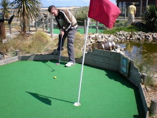 Richard Gottfried playing the Smugglers Cove Adventure Golf course in South Shields, Tyneside