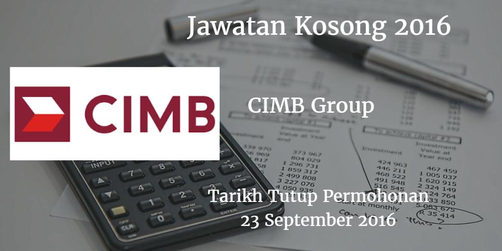 Jawatan Kosong CIMB Group  23 September 2016
