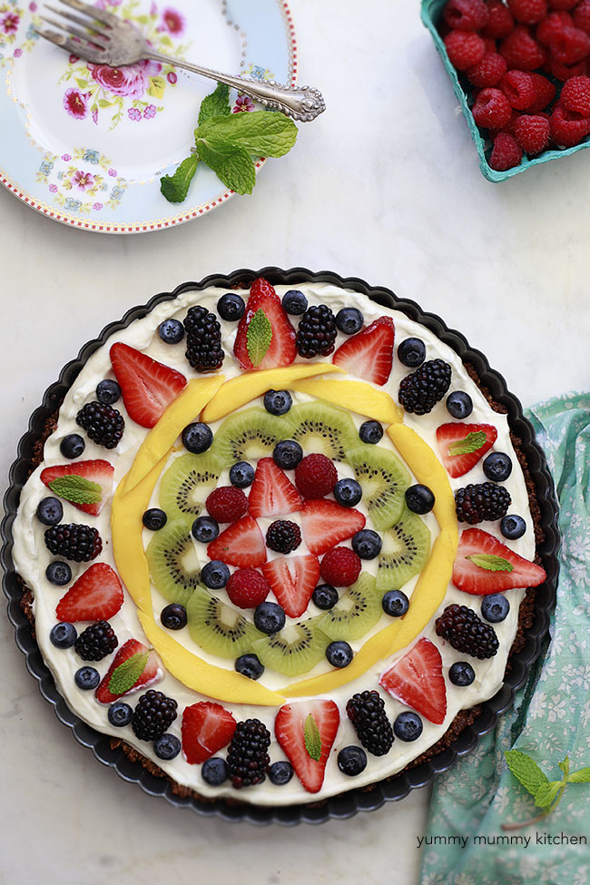 healthy fruit and granola tart