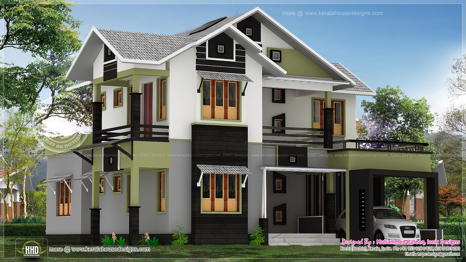 185 square meter 4 bedroom house design kerala home for Square house design