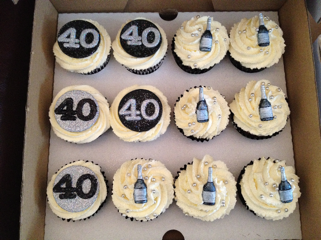 Rachel s Cake Blog: 40th Birthday Cupcakes - Silver and Black