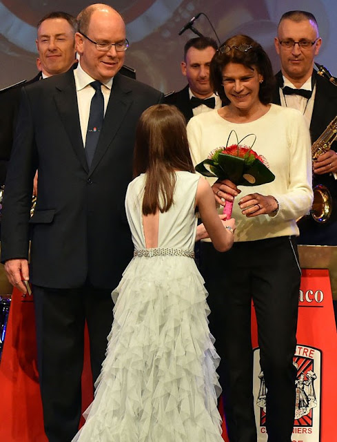 Prince Albert of Monaco and his sisters Caroline, Princess of Hanover and Princess Stéphanie of Monaco attended celebrations of 50th anniversary of the Police Orchestra, style, jewelery, diamond earrings, wedding dress, wedding diamond