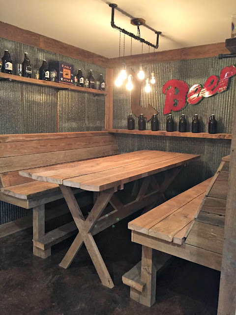 galvanized walls with wood table