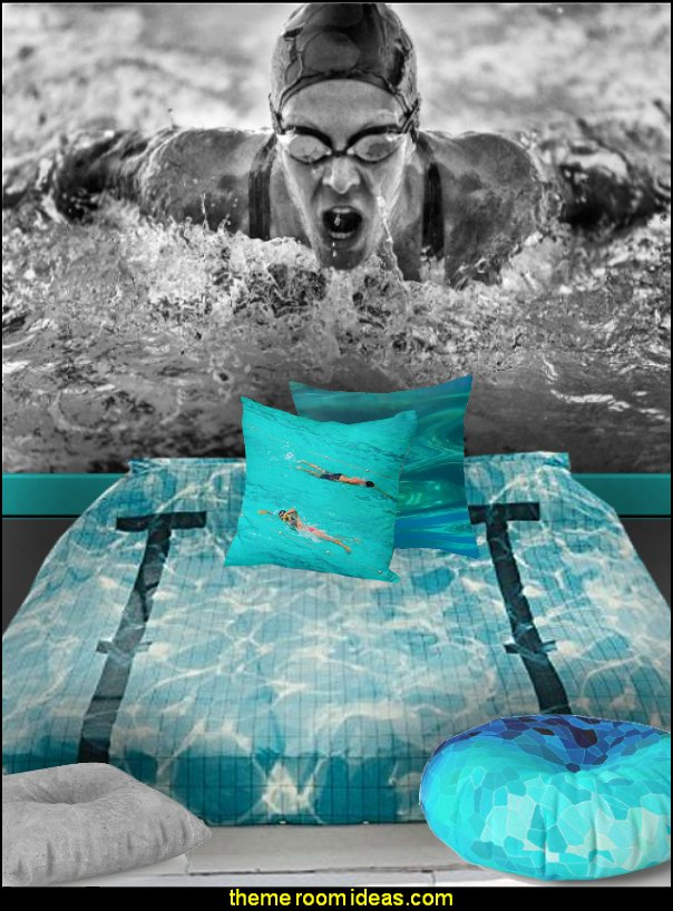 swimmer mural swimming lane bedding  swimming pool theme bedroom ideas - Pool Bedroom - Swimming pool themed bedroom - swimming pool theme bedroom mural ideas - swimming theme decor - Swimmer Wall Decal - swimming pool bedroom ideas - swim themed bedrooms - swimming room decor - swimmers mural - Swim decor - swimmer bedding - swimming throw pillows - Swimming Swim Swimmer sports