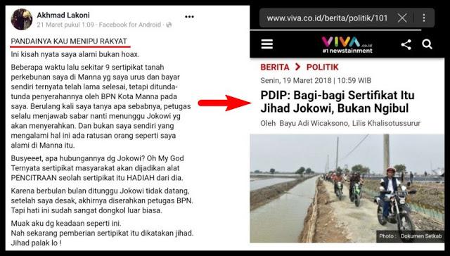 "Warga Bongkar KLAIM ""PDIP: Bagi-bagi Sertifikat Itu Jihad Jokowi, Bukan Ngibul"""