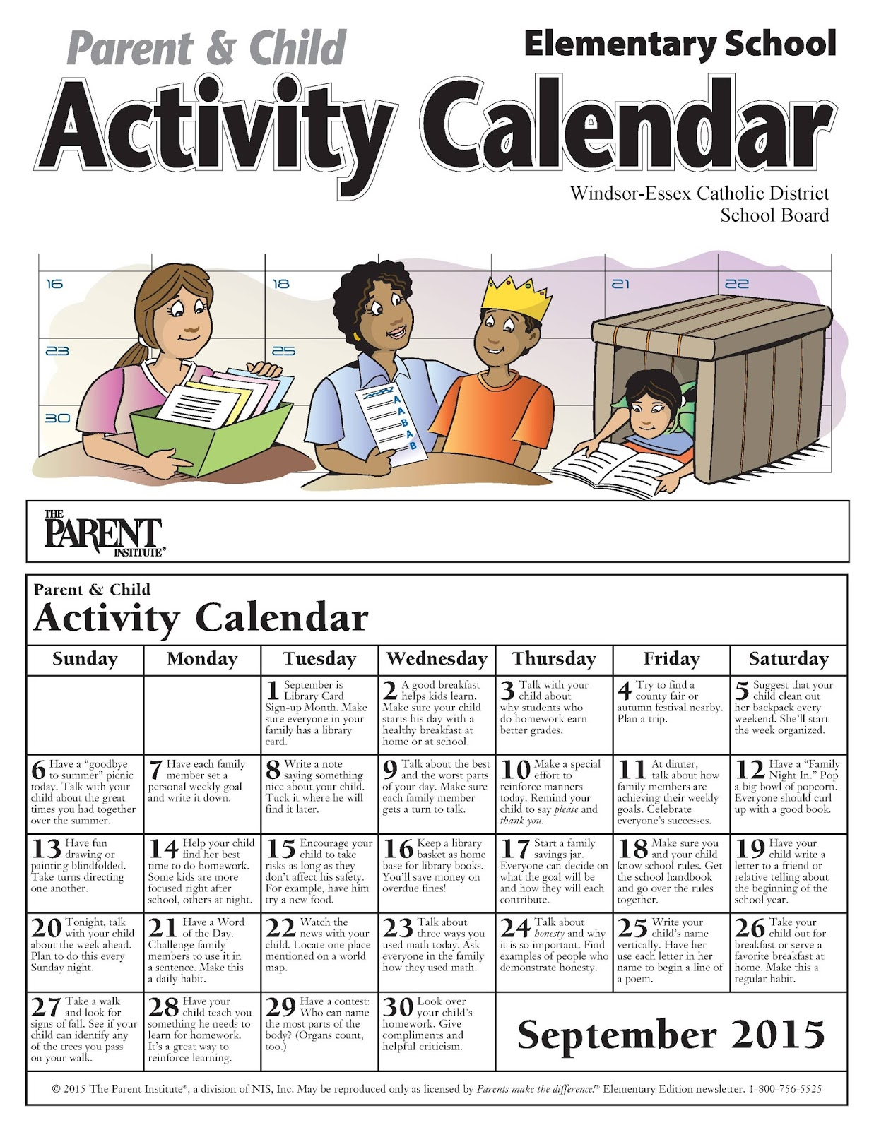 News And Events September Activity Calendars For Parents
