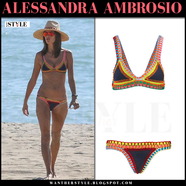 Alessandra Ambrosio in two piece crochet bikini kiini tasmin what she wore beach style vacation