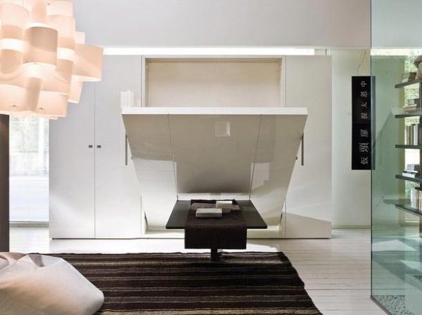 Marzua ulisse cama abatible tras una mesa for Cama escondida en mueble