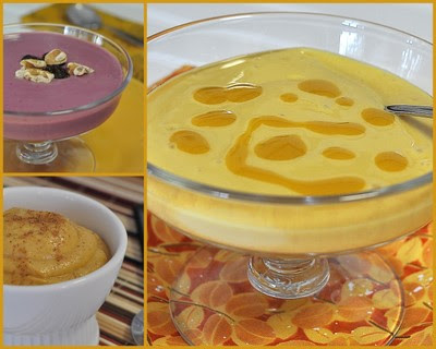 Tofu Pudding (top left, Blackberry; bottom left, Pumpkin; right, Mango)