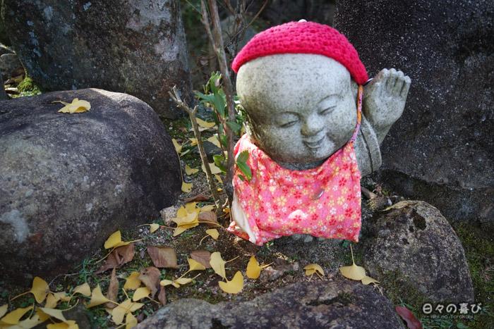 Jizô vêtu de rouge, temple Daisho-in, Miyajima, Hiroshima-ken