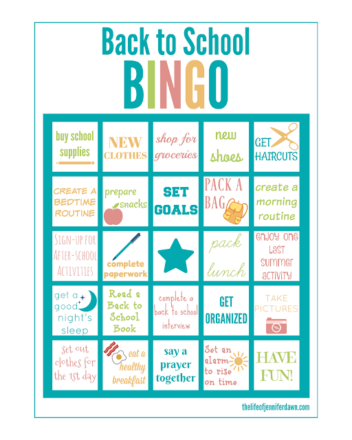 picture about Back to School Bingo Printable identified as The Daily life of Jennifer Sunrise: Printable: Back again in direction of College BINGO
