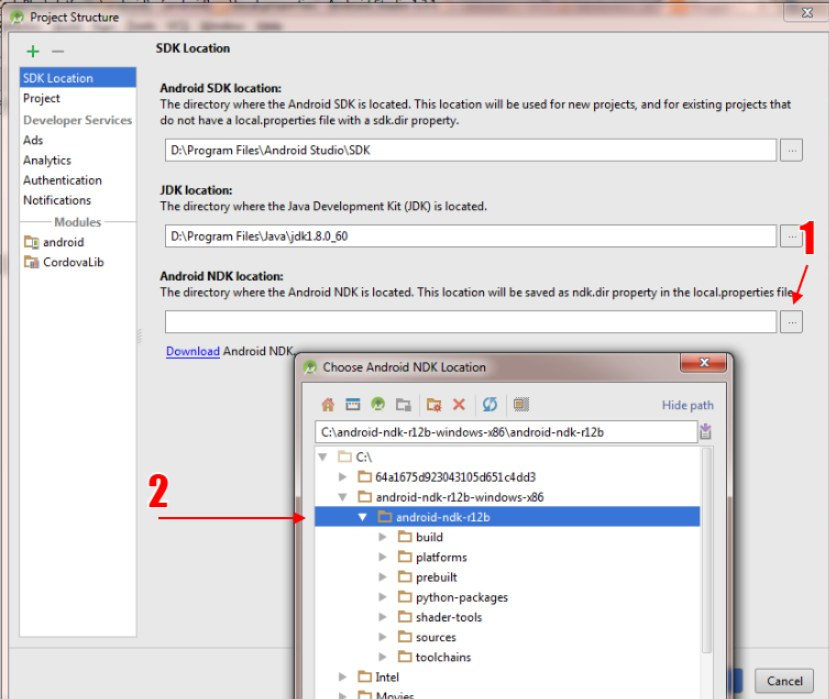 How to set the SDK, NDK and JDK path to android studio?