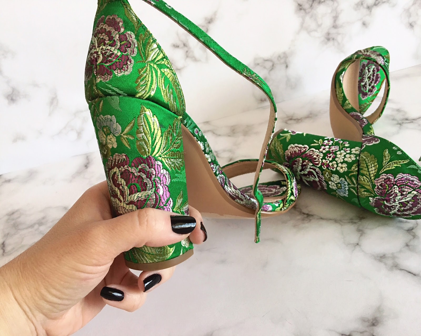 Bold print on a block heel sandal