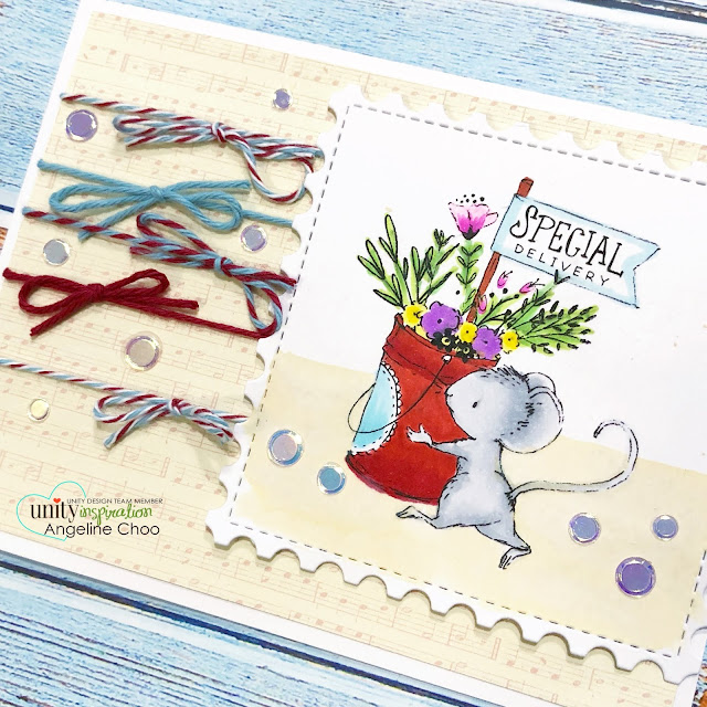 ScrappyScrappy: Special Delivery Mouse #scrappyscrappy #unitystampco #lisaglanz #brownthursday #card #cardmaking #youtube #quicktipvideo #stamp #stamping #papercraft #copicmarkers #christmas #christmascard #katscrappiness #trendytwine #pepperminticicle #auroraborealis