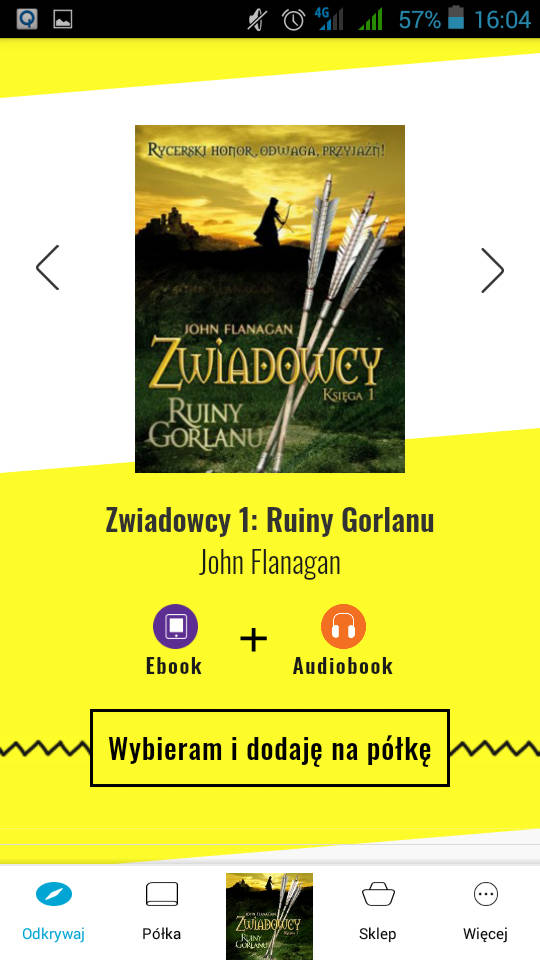 Widok wybranego książki z przyciskiem umożliwiającym dodanie jej na półkę aplikacji Woblink