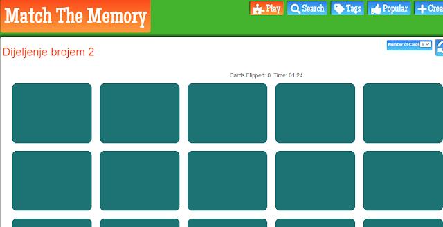 DIGITALNI ALATI - MATCH THE MEMORY (Dijeljenje brojem 2)